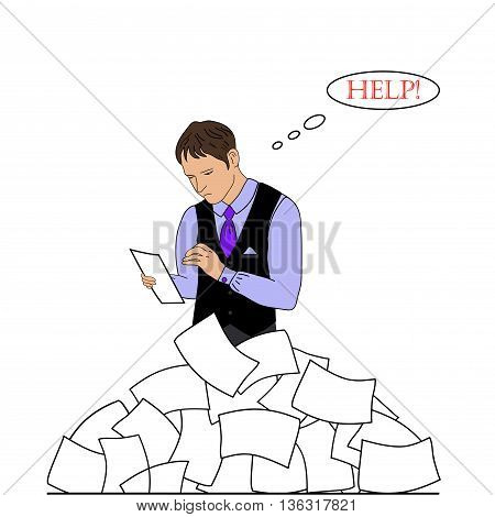 Businessman need help under a lot of white paper