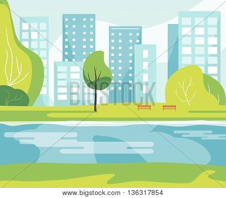 City park with a lawn, river, trees, lush grass with a wooden bench on the background of the city with business skyscrapers tall buildings. Vector illustration flat design. Urban landscape