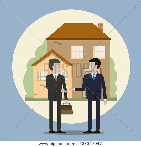 Business people shaking hands. Businessman buying a house. The realtor sells the house and makes a deal. Vector illustration flat design.