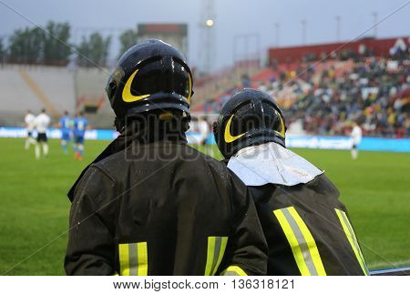 Fire Brigade Anti Riot For The Security Service In The Stadium
