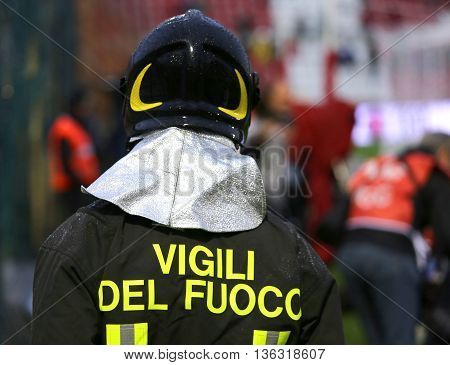 Italian Firefighter  With The Written Firefighters