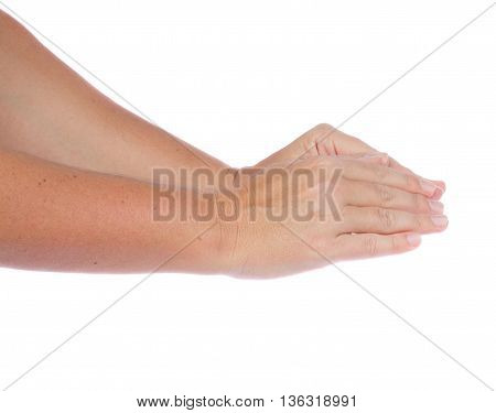 Two hand gesture covering something on isolated on white background