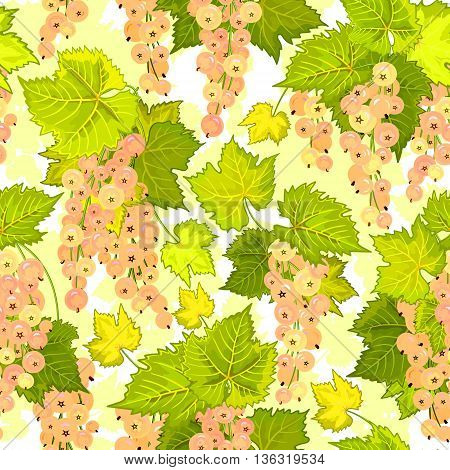 White currant seamless pattern. Collection of berries. Vector illustration of berries isolation on white for design menus, recipes and packages product.