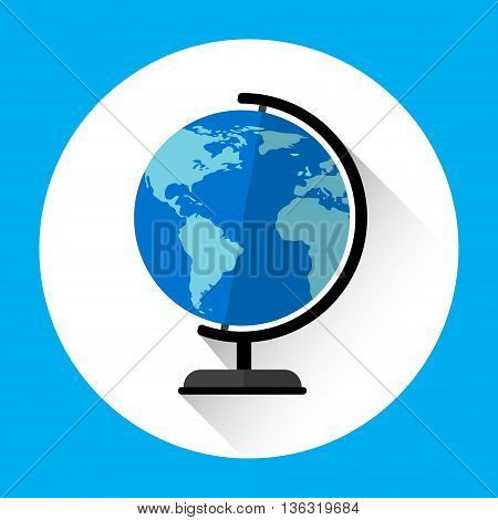 Globe Earth Model Icon Geography Concept Flat Vector Illustration
