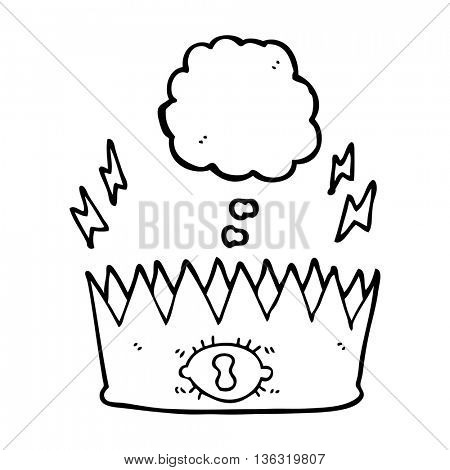 freehand drawn thought bubble cartoon magic crown