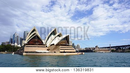 SYDNEY AUSTRALIA - JUNE 20 2016: Sydney Opera House view in Sydney Australia. The Sydney Opera House is a famous arts center. It was designed by Danish architect Jorn Utzon.