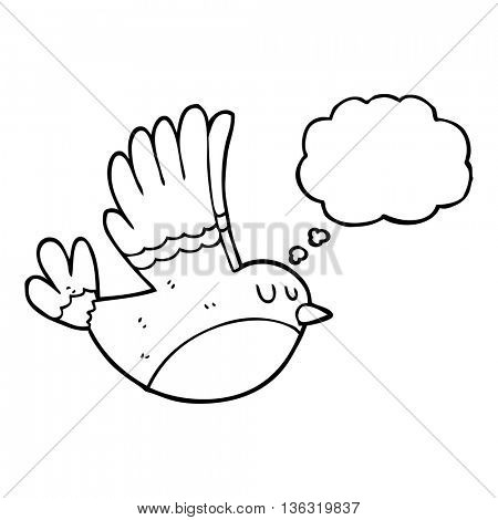 freehand drawn thought bubble cartoon flying bird