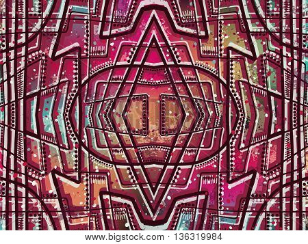 Abstract Background Tribal Ethnic Ornament Red