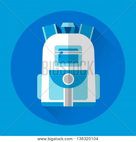 School Backpack Colorful Icon Flat Vector Illustration