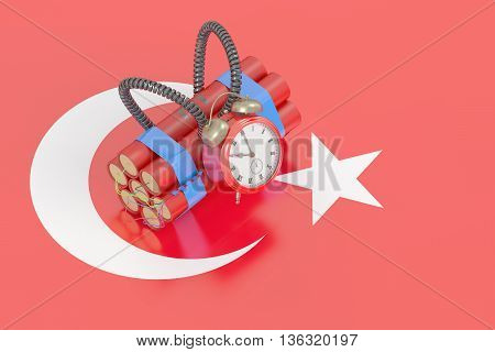Turkey terror attack concept with flag 3D rendering