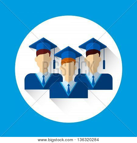Graduate Student Group Icon Graduation Gown Cap Flat Vector Illustration