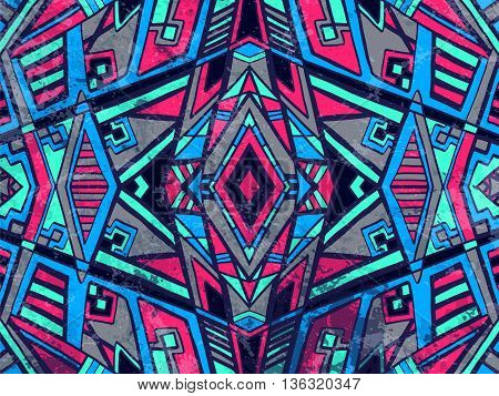 Abstract Background Tribal Geometric Ornament Blue