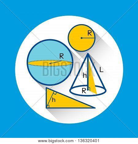 Geometry Shapes Formulas School Icon Flat Vector Illustration