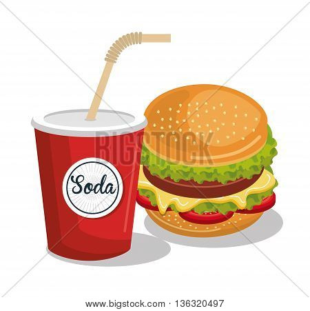 soda and burger isolated icon design, vector illustration  graphic