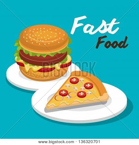 burger and pizza isolated icon design, vector illustration  graphic