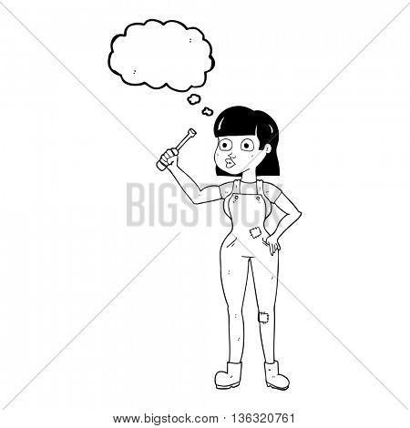 freehand drawn thought bubble cartoon female mechanic