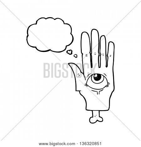 freehand drawn thought bubble cartoon spooky eye hand