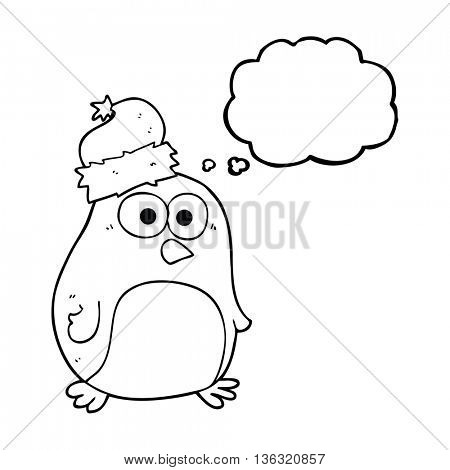 freehand drawn thought bubble cartoon penguin