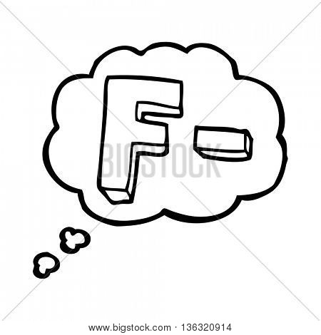 freehand drawn thought bubble cartoon F grade