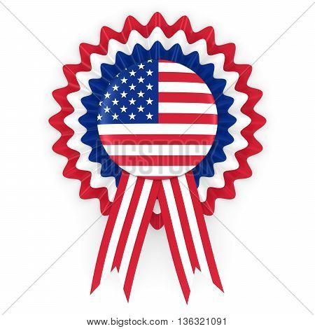 United States Flag Badge Rosette 3D Illustration