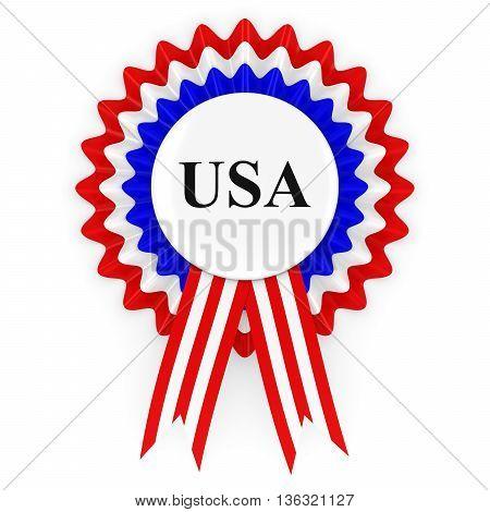 USA Badge Rosette Isolated on White 3D Illustration