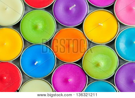 Columns of many colorful circle candles background