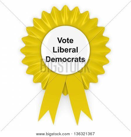 Vote Liberal Democrats UK Elections Rosette Badge 3D Illustration