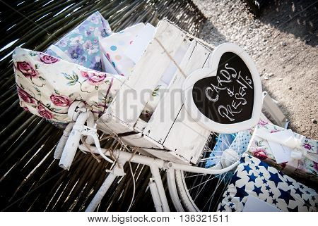 wedding presents sitting in a bicycle basket