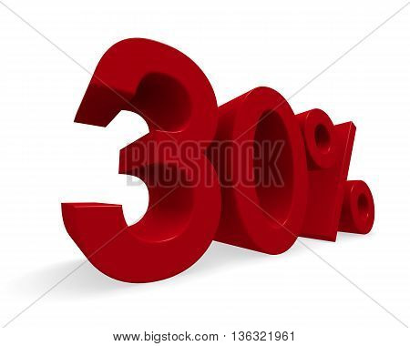 Discount concept image with a red percent icon 3d rendering