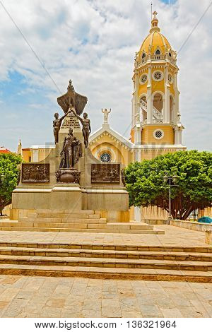 Panama City Panama - May 15 2016: View of the Plaza Bolivar in the old part of Panama City. View of the Bolivar monument and San Fransisco de Asisi Church. The old town is the colonial city of Panama which was reconstructed after the sacking of the pirate
