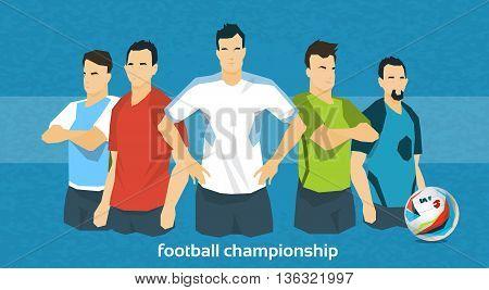 Football Team International Championship Flat Vector Illustration