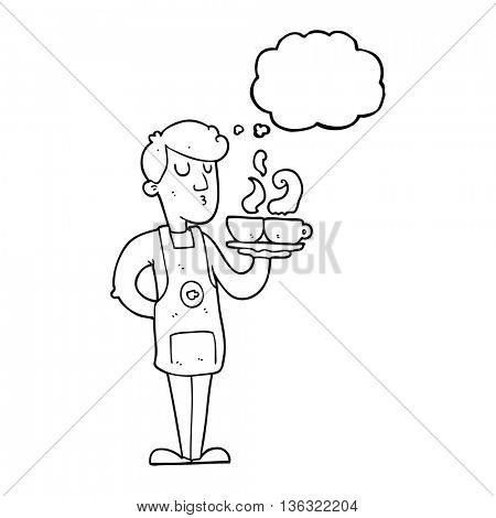 freehand drawn thought bubble cartoon barista serving coffee