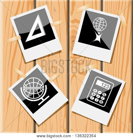 4 images: triangle ruler, little man with globe, school globe, calculator. Education set. Photo frames on wooden desk. Vector icons.