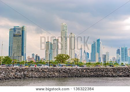 Panama city Panama - May 15 2016: Landscape view at skyline of skyscrapers in Panama City Panama Central America.