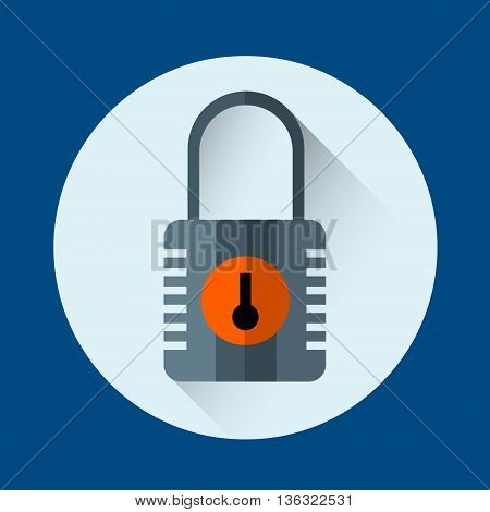Lock Colorful Icon Safety Concept Flat Vector Illustration