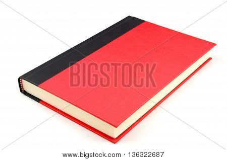 isolated inclined red and black two tone note book