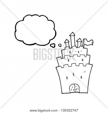 freehand drawn thought bubble cartoon castle