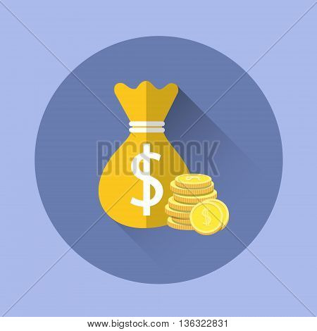 Money Bag With Coins Icon Flat Vector Illustration