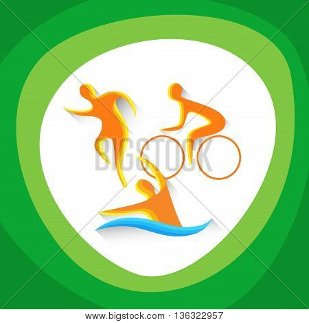 Triathlon Sport Competition Colorful Icon Vector Illustration