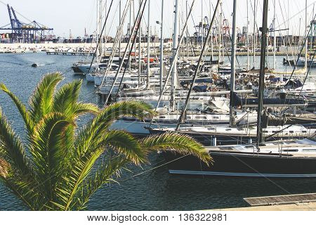 Beautiful boats and ships moored on the seafront in the dock port