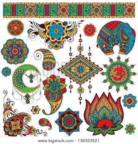 A set of Indian symbols for design painted in the style of mihendi
