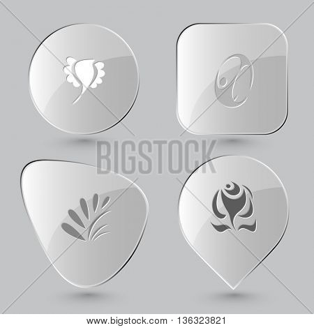 4 images: bird, skydiver, plant, rose. Abstract set. Glass buttons on gray background. Vector icons.