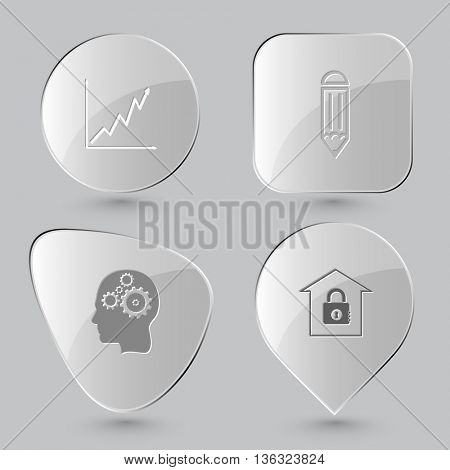 4 images: diagram, pencil, human brain, bank. Business set. Glass buttons on gray background. Vector icons.