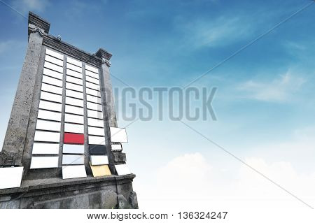 Stone billboard with a lot of blank signboard, with copy space on blue sky