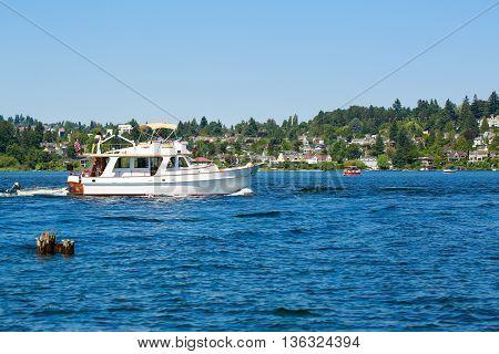 Seattle, Wa - March 23, 2011:  White Boat