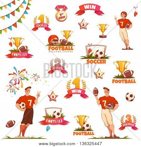 Banner set with football ball, sportsman and goblet. Vector illustration.
