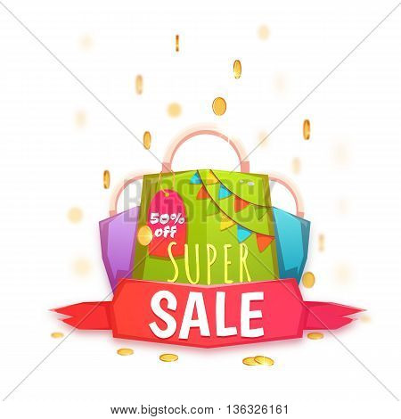 Big sale banner with color packet and coins. Vector illustration.