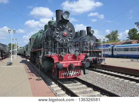 MOSCOW, RUSSIA - JUNE 23, 2016: Museum of Railway Transport of the Moscow railway Soviet passenger locomotive series