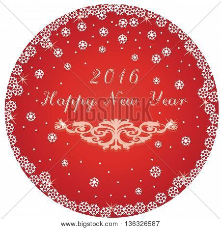 Happy New Year round circle red card. Vector illustration