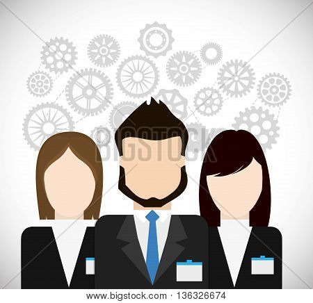 Business represented by businesspeople with gears icon. flat and isolated illustration